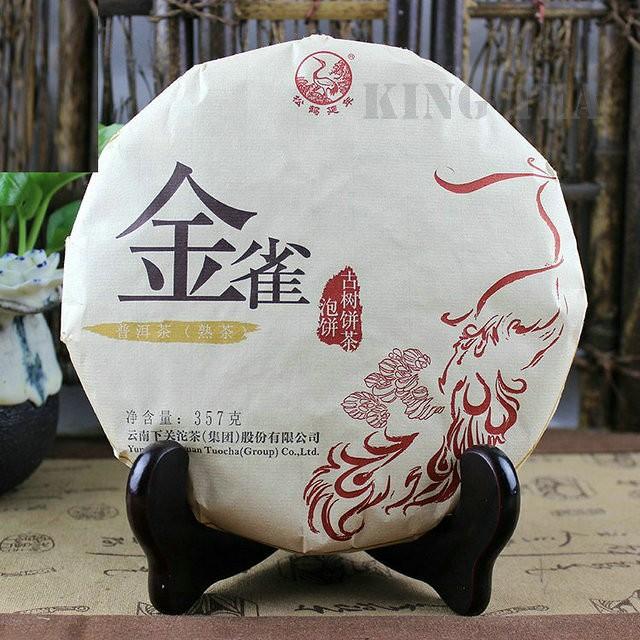 Free Shipping 2016 JinQue Cake Beeng 357g YunNan Organic Pu'er Pu'erh Pu-erh Puerh Ripe Cooked Tea Shou Cha