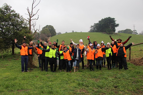 Greenfleet tree planting day at 'Wurneet Laang Laang', in Gippsland, Vic - 4 August 2017