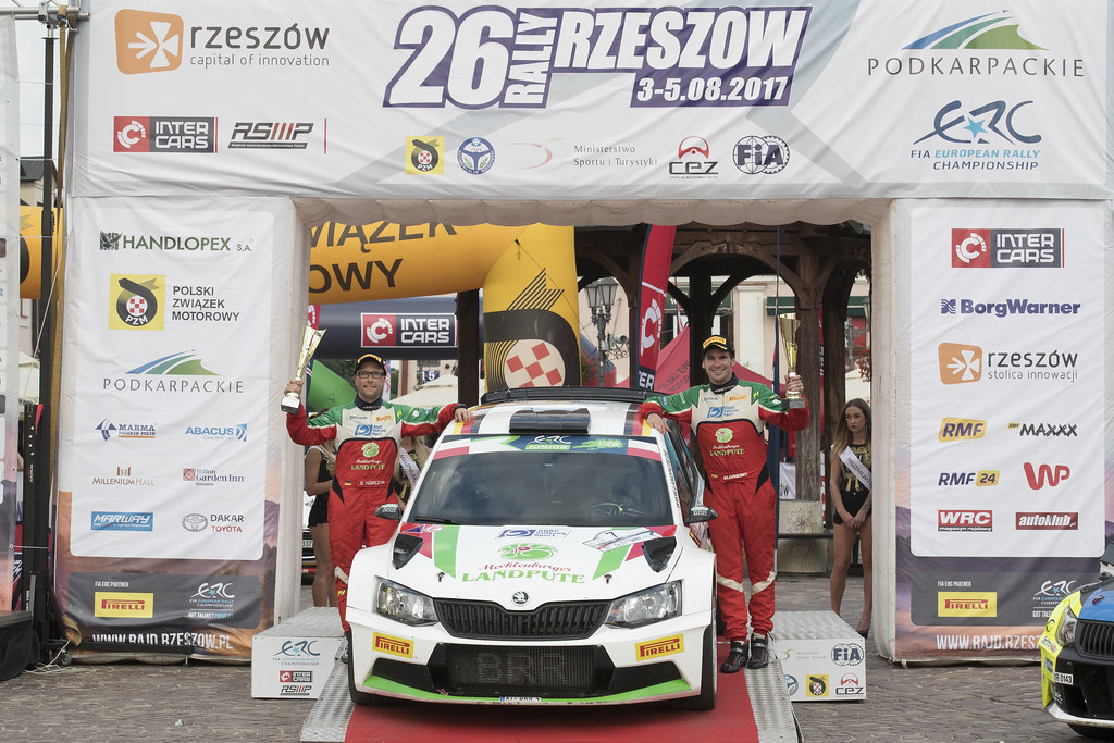 GRIEBEL Marijan (DEU) KOPCZYK Stefan (DEU) Skoda Fabia R5 ambiance portrait podium during the 2017 European Rally Championship Rally Rzeszowski in Poland from August 4 to 6 - Photo Gregory Lenormand / DPPI