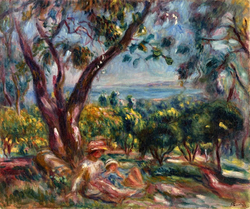 Cagnes Landscape with Woman and Child by Pierre Auguste Renoir, 1910