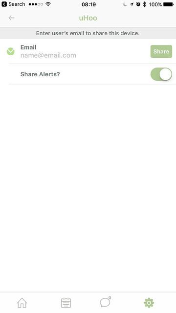 uHoo iOS App - Sharing