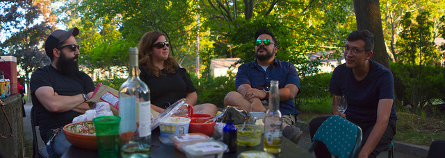 Graz, Stacy, Jason, Carlos; cookout, 22 Parker; Wakefield, Ma (2017)