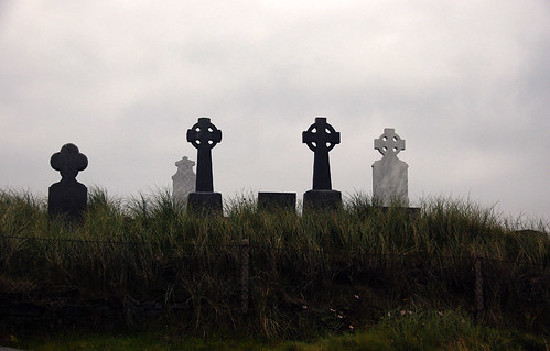 Celtic crosses in a cemetery on the Aran Island of Inisheer in Ireland