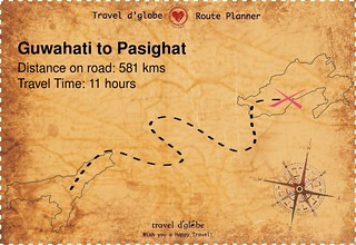 Map from Guwahati to Pasighat