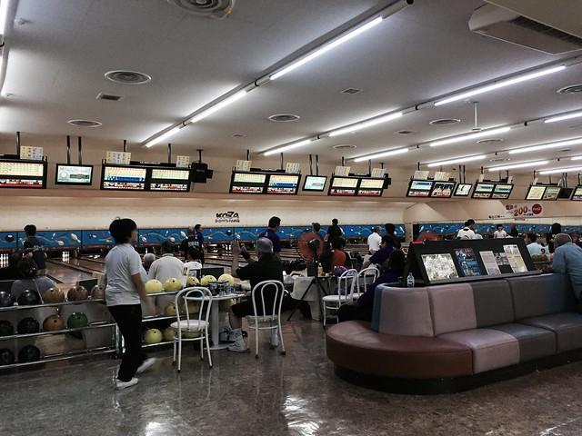 iphone photo 983: Crowded bowling alley at Tuesday night. Koza (Okinawa), 08 Aug 2017