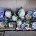 Selling ceramic on street in Nagano, Japan