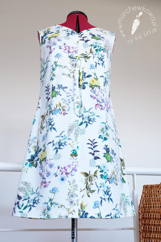 marchewkowa, blog, szycie, sewing, rękodzieło, handmade, moda, styl, vintage, retro, repro, 1950s, 1960s, Wrocław szyje, w starym stylu, cotton satin, Simplicity 5958, flower print, rekonstrukcja, sukienka, shift dress