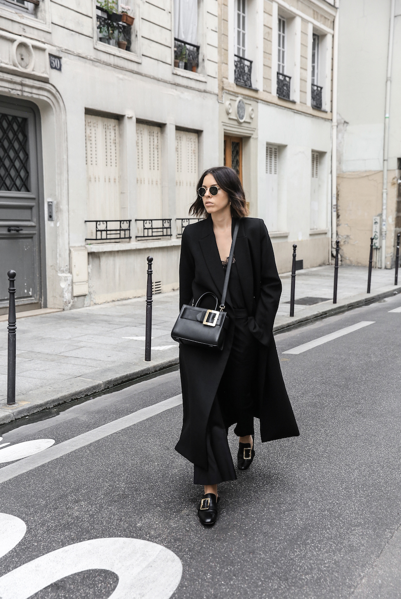 black bally buckle bag loafers minimal paris street style kaity modern legacy all black outfit inspo (1 of 2)