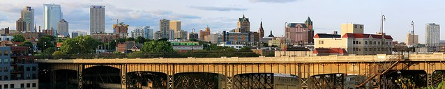 Skyline from the Beerline above the Holton Street Bridge (Mega-Panorama)