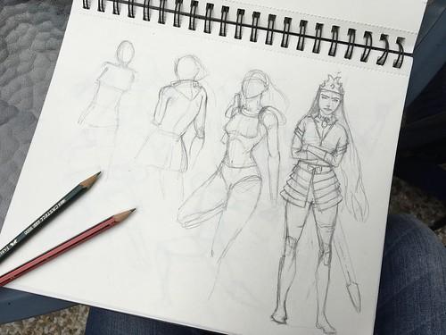 Bocetos de personajes.