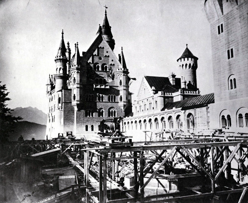 Neuschwanstein upper courtyard under construction, c. 1886