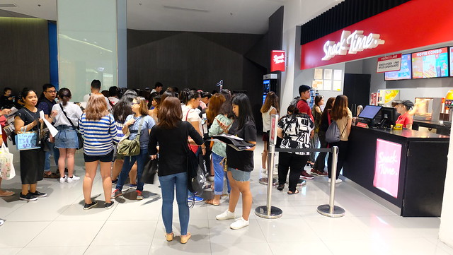Guests lining up for the block screening