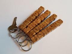 Amboyna Burl and Walnut Wood Name Keychains