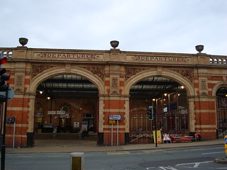 Two arched spans of Leicester station's historic frontage