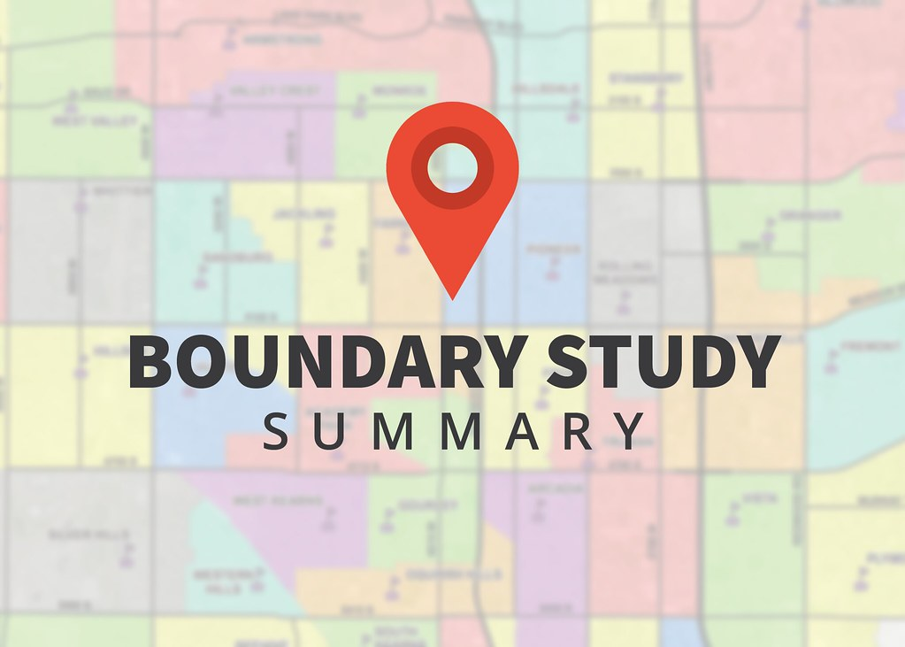 Map of school boundaries with text 'Boundary Study Summary'