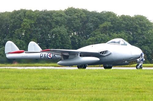 LN-DHY /  PX-K 'Royal Norwegian Air Force Historic Squadron ' De Havilland Vampire FB52 on 'Dennis Basford' railsroadsrunways.blogspot.co.uk'