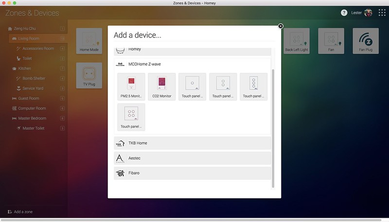 Homey Desktop App - Zones & Devices - Add Device Step 1