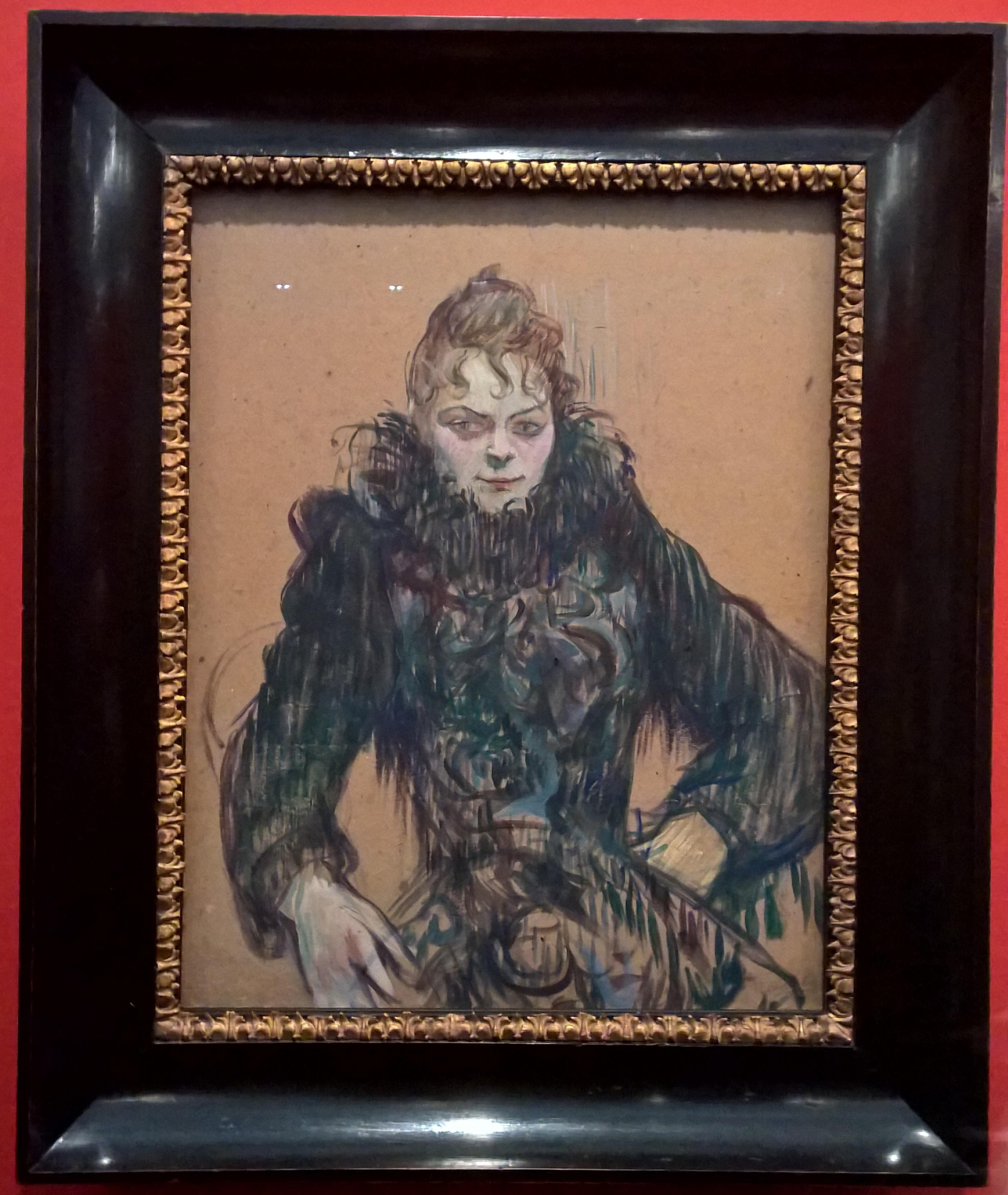 1892_Femme au boa noir _ óleo sobre cartão