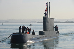 In this file photo, Peruvian submarine BAP Pisagua (SS 33) arrives at Naval Base Point Loma in July for phase one of DESI-EX. (U.S. Navy/MC2 Derek Harkins)