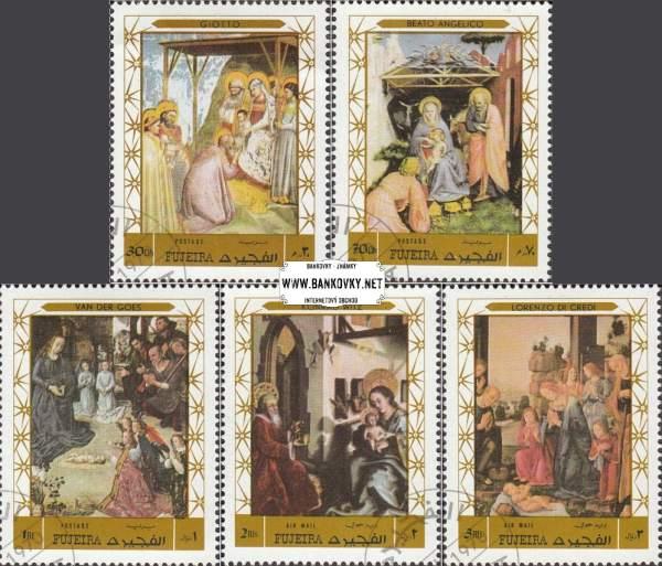 Známky Fujeira 1970 Vianoce - maľby, razítkovaná séria