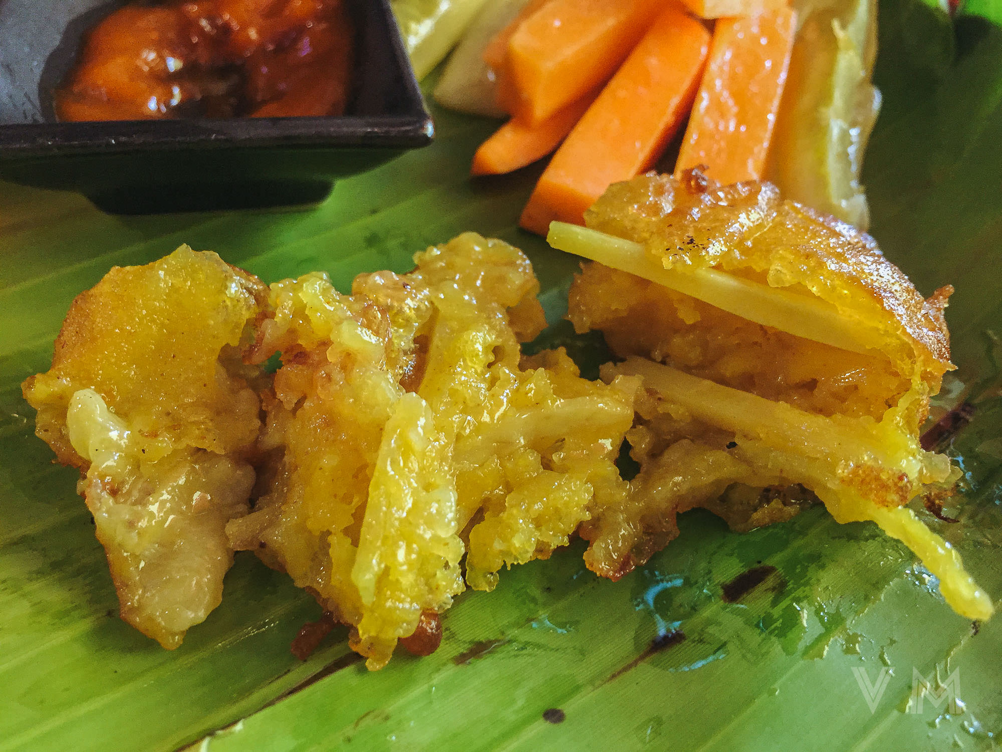 Inside of vegan Banh Chuoi, banana, sweet potato, turmeric fritter from Jalus Vegan Kitchen