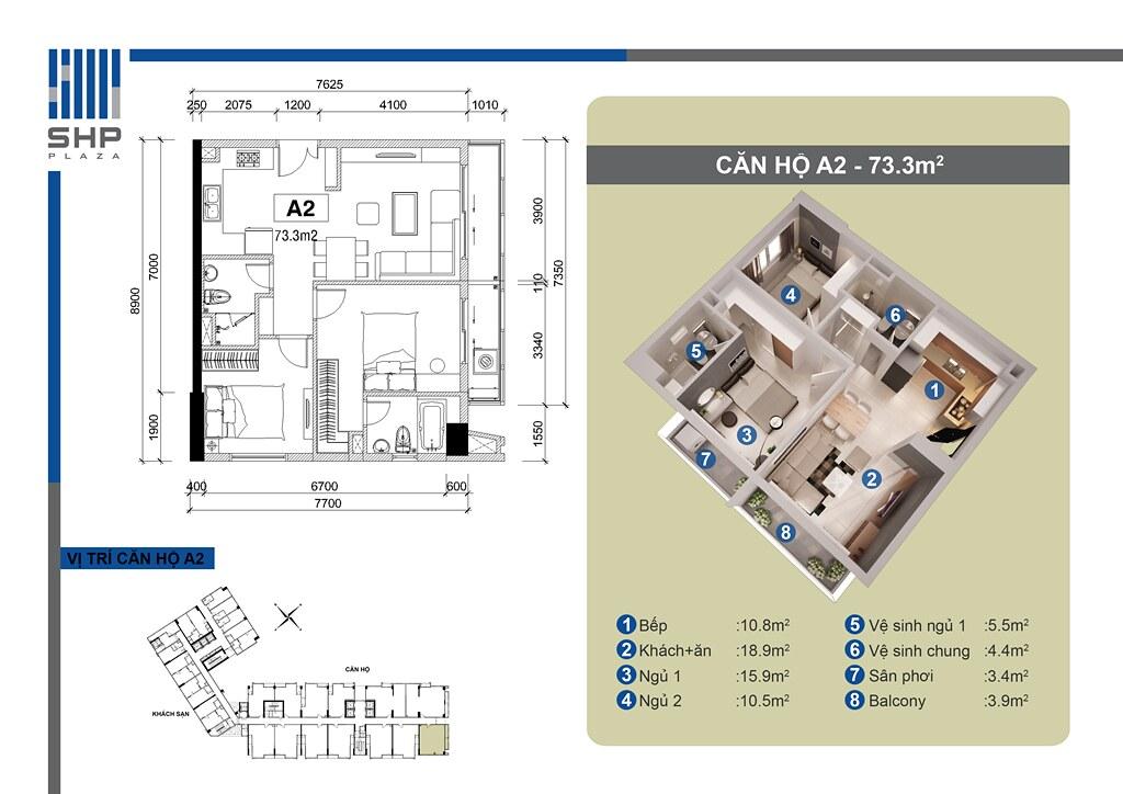 """Mẫu A2 - loại 73.3m2 - Tòa nhà cho thuê căn hộ SHP  <img src=""""images/"""" width="""""""" height="""""""" alt=""""Công ty Bất Động Sản Tanlong Land"""">"""