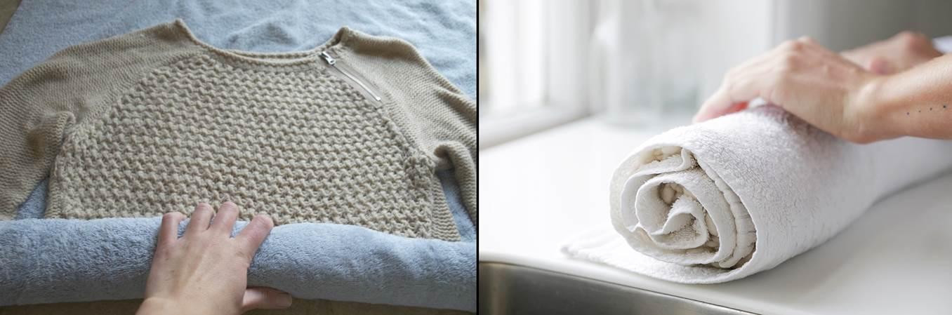 291696a1837 Повдигнете кърпата с навитата в нея дреха и я огънете все едно че изцеждате  вода от пране, за да може част от водата на дрехата да се попие в кърпата.