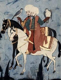 Sultan Süleyman şahin ile avlanırken