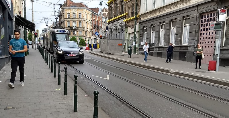 Brussels tram delayed by car