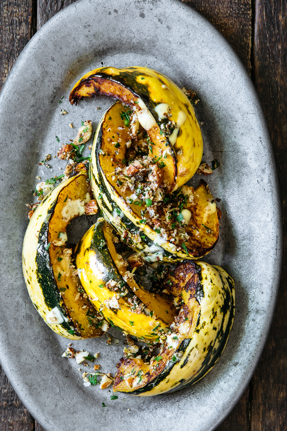 Roasted Acorn Squash with Almond Picada