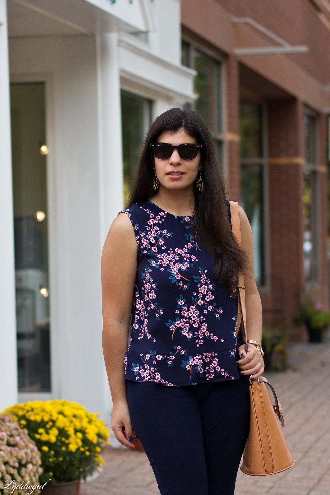 cherry blossom print top, navy pants, rust mules-5