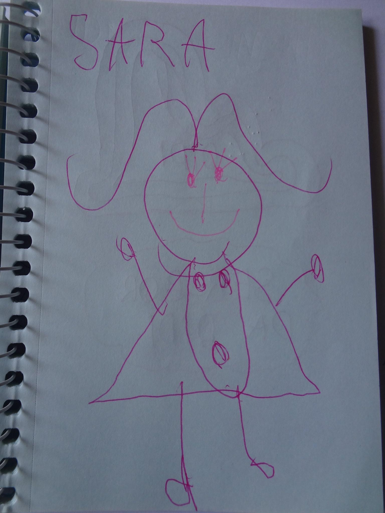 Essa é a Sara. Não gosta de usar roupas, e a desenhou da forma mais natural possível. Com três cílios