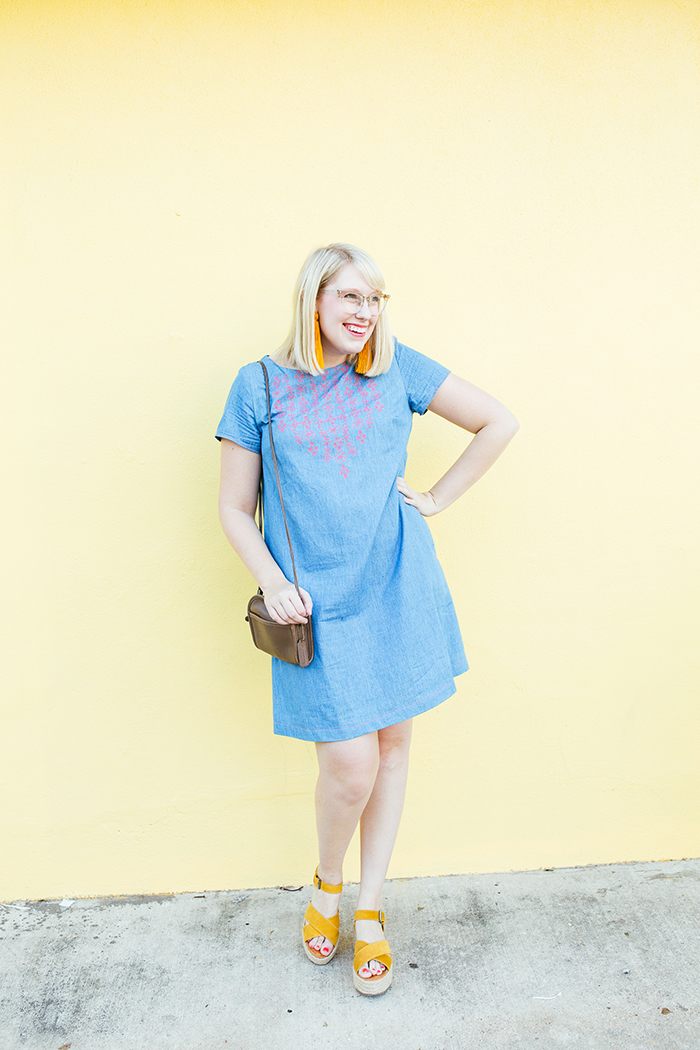 austin style blogger writes like a girl embroidered denim shift dress4