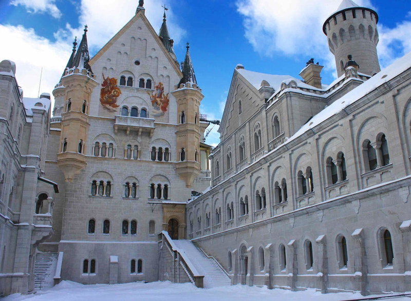 The upper castle courtyard of Neuschwanstein in winter. Credit Benreis