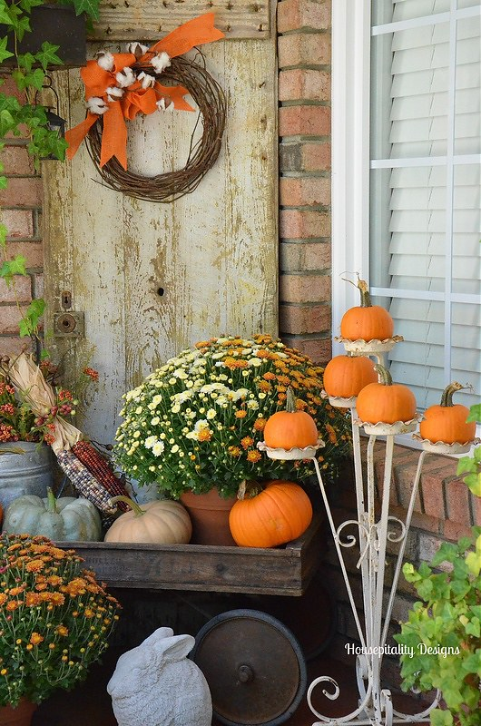 Fall Porch-Mums-Pumpkins-Vintage Wagon-Housepitality Designs