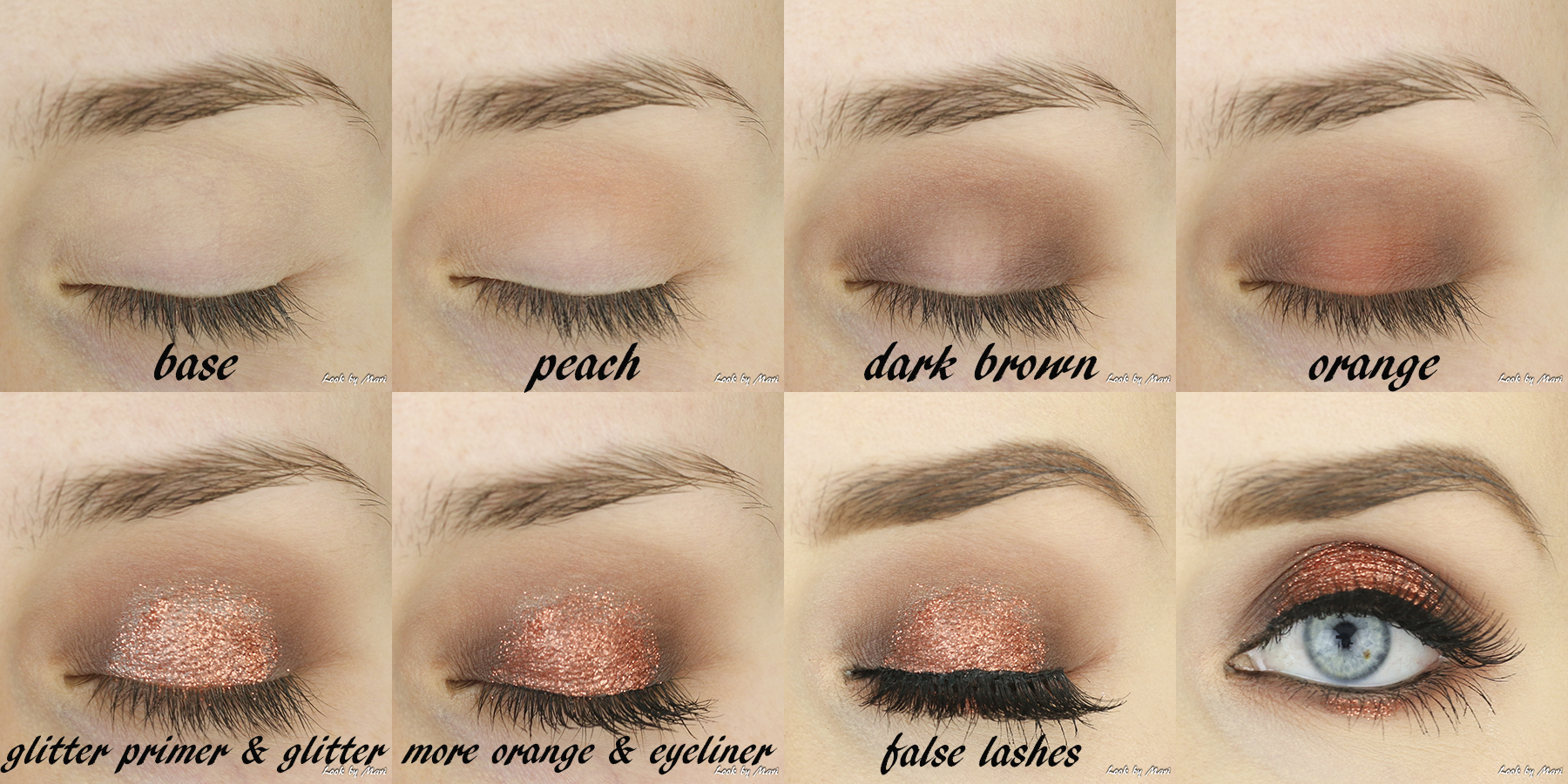 4 orange copper glitter makeup inspo inspiration tutorial step by step blog