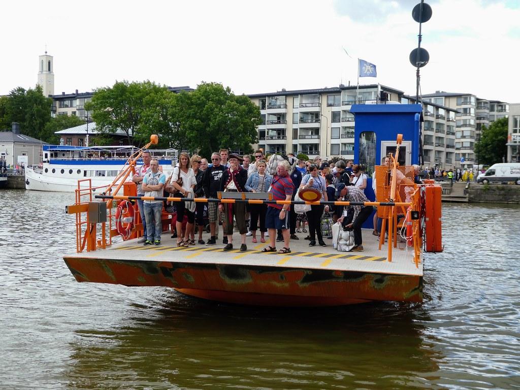 Föri ferry crossing the Aura river in Turku