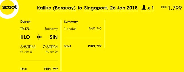 Kalibo to Singapore Promo January 26, 2018 Scoot