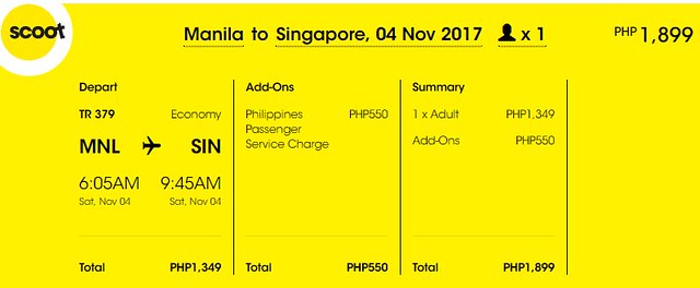 Manila to Singapore Promo November 4, 2017 Scoot