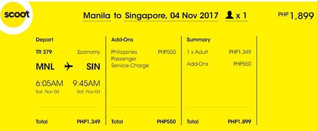 Manila to Singapore Promo November 4, 2017 Scoot