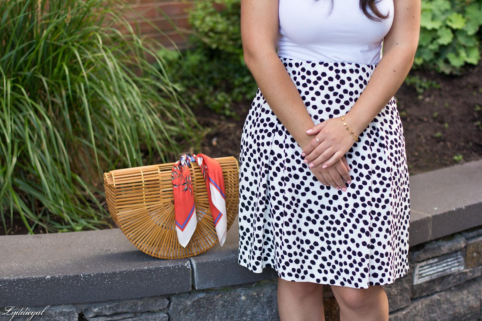 dalmatian print skirt, white bodysuit, bamboo bag-6.jpg
