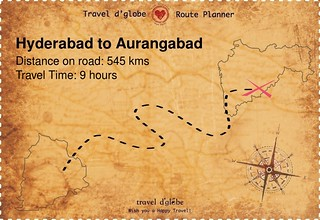 Map from Hyderabad to Aurangabad