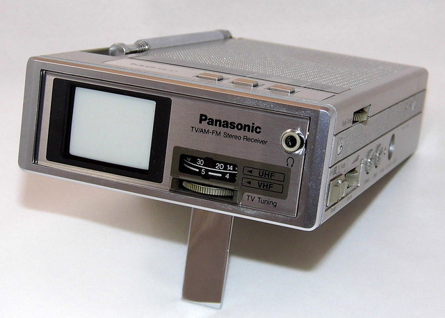 Vintage Panasonic Miniature Black And White Television With AM-FM Radio, Model TR-1020P, 1.5 Inch Diagonal Screen, Made In Japan, Manufacture Date August 1983