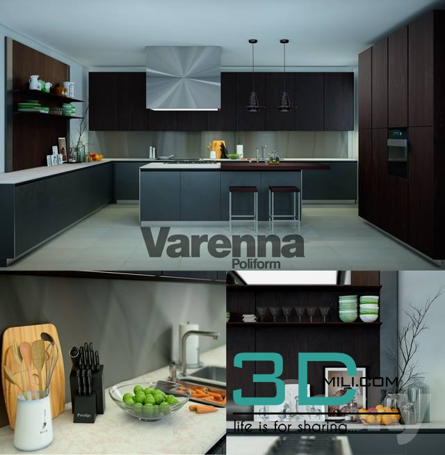 varenna poliform twelve kitchen 3d mili download 3d model free 3d models 3d model download - Poliform Kitchen