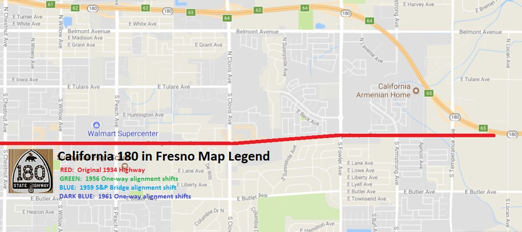 Highway 41 California Map.Old Ca 180 And 41 In Fresno