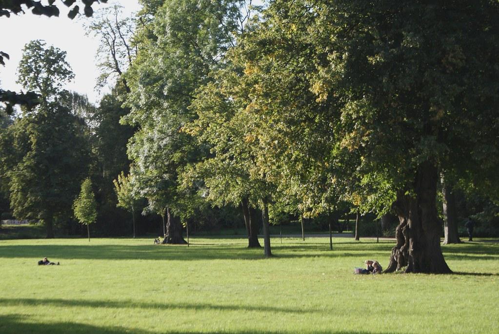 Grandes et belles pelouses du parc de Frederiksberg à Copenhague.