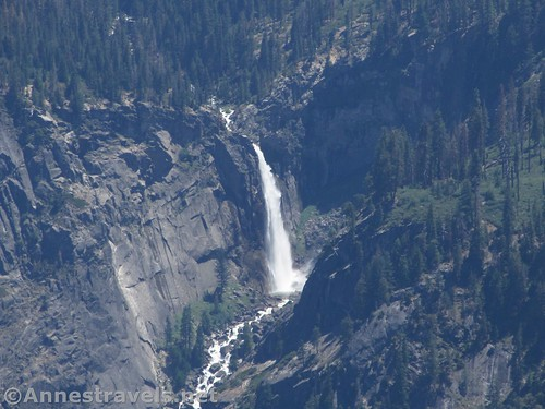 Close up of Vernal Falls from North Dome in Yosemite National Park, California