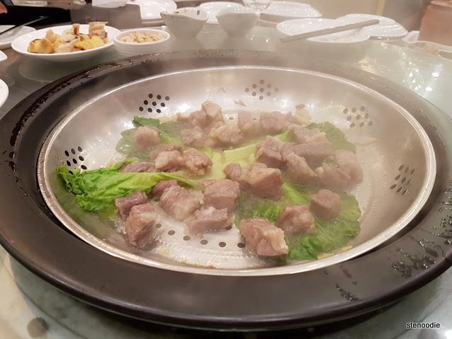 Wagyu beef in steamer