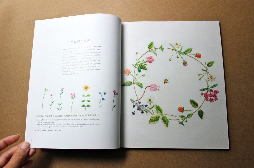 Summer wreath in The Embroidered Garden by Kazuko Aoki, reviewed by floresita on Feeling Stitchy