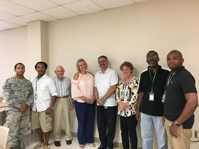 Students and faculty from Wilmington University's College of Business met with local entrepreneur William Topkis on July 19. Left to right: Kirk Phang, Charles Bryant, Topkis, Dr. Audrey Blume, Dr. Robert Rescigno, Dr. Amy Danley, Reney Jessop, and Dwane Smith.